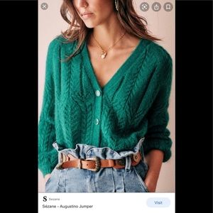 Sezane Augustino Teal sweater. Size XS